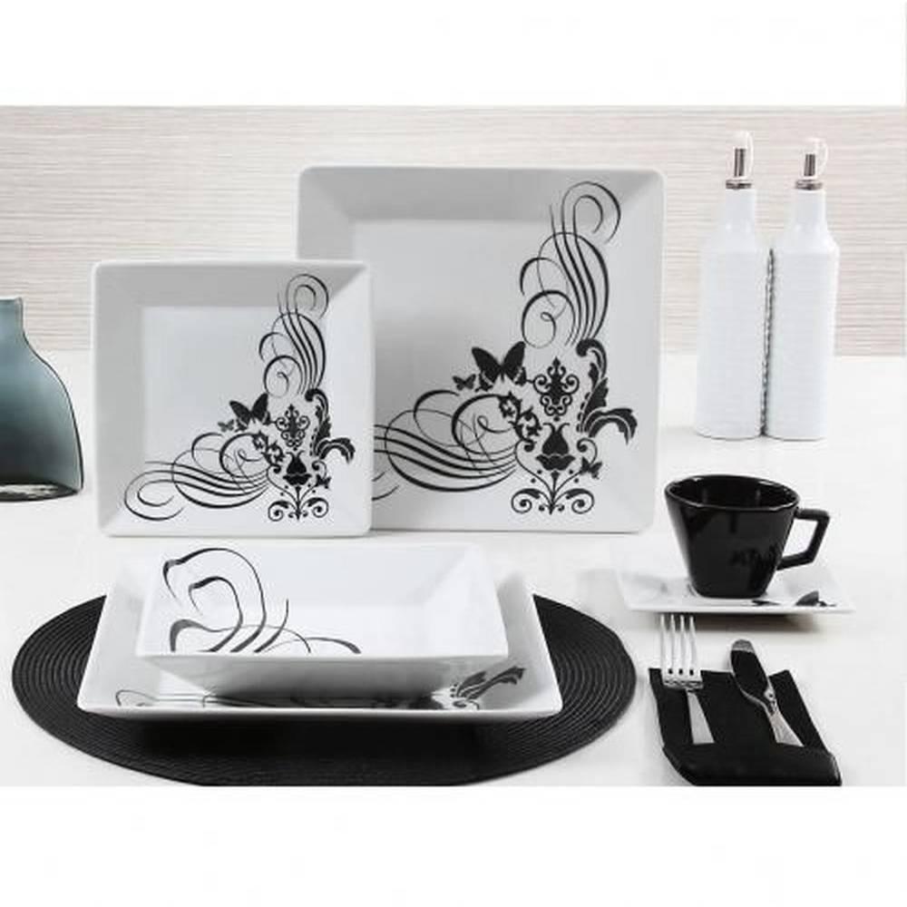 Aparelho De Jantar E Chá De Porcelana Quadrado Tatoo Com 30 Peças