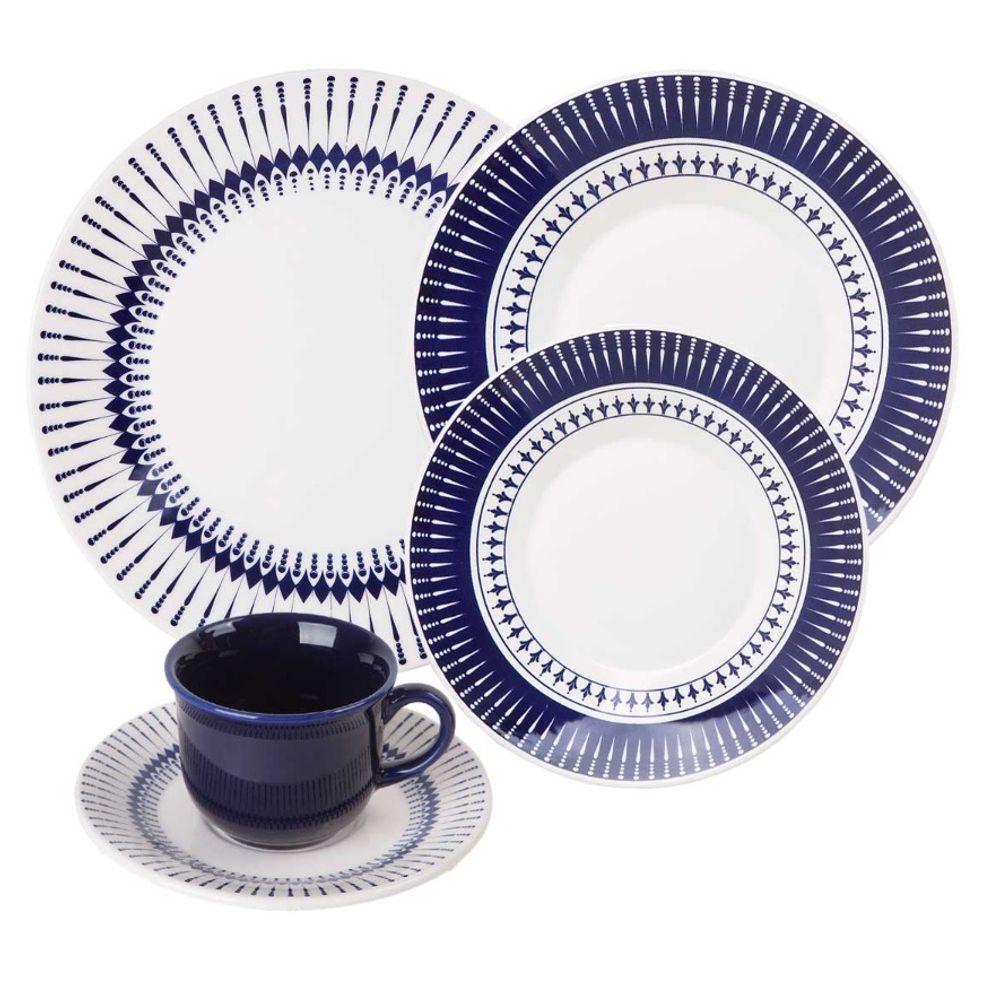Aparelho De Jantar E Chá Redondo De Cerâmica Com 20 Peças Tb Colb